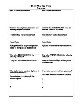Weekly grammar/parts of speech assessments