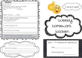 Weekly homework booklets