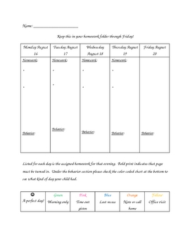 Weekly homework calendar and behavior log
