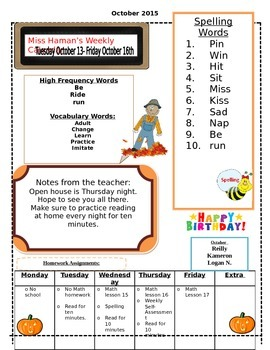October Weekly homework sheet
