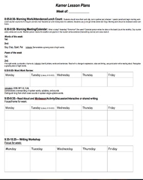 Weekly lesson plan template/schedule (used for a split class!)