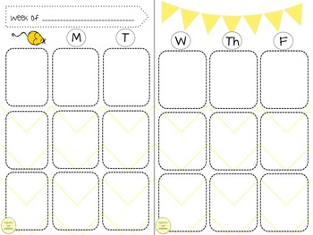 Weekly lesson planner for teacher binder
