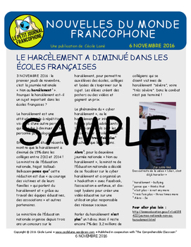 Weekly news summaries for French students: November 6, 2016