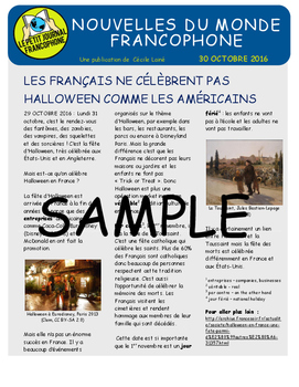 Weekly news summaries for French students: October 30, 2016