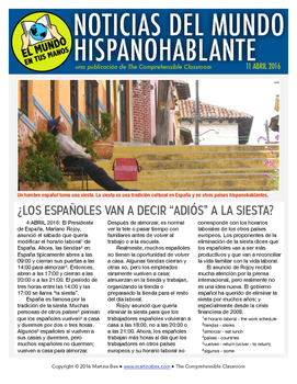 Weekly news summaries for Spanish students: April 11, 2016