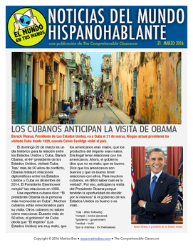 Weekly news summaries for Spanish students: March 21, 2016