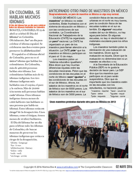 Weekly news summaries for Spanish students: May 2, 2016