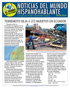 Weekly news summaries for Spanish students: SPECIAL EDITION Ecuador Earthquake