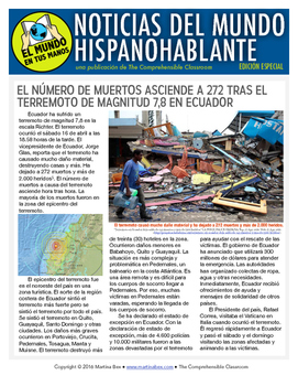Weekly news summaries for Spanish students: SPECIAL EDITION Ecuador Earthquake