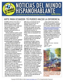 Weekly news summaries for Spanish students: SPECIAL EDITION Art for Ecuador