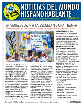 Weekly news summaries for Spanish students: September 11, 2016