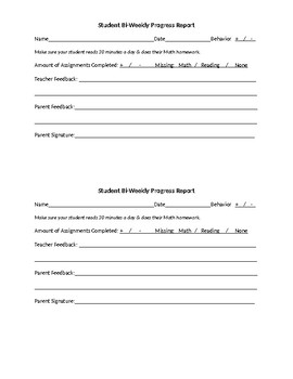 Weekly or Bi Weekly Student Progress Report