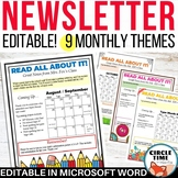Monthly Newsletter Templates EDITABLE, Parent Letters with Calendar
