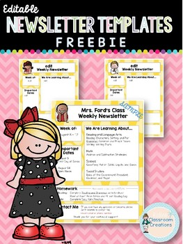 Weekly or Monthly Newsletter Templates FREEBIE