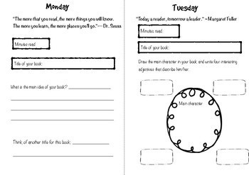 Weekly Reading Log Booklet with Activities for Each Day
