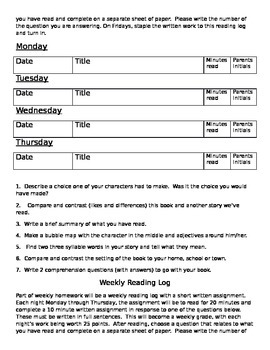 Weekly reading log with response questions