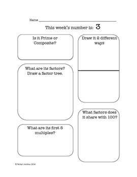 4th/5th Grade- Weekly review of factors and multiples worksheet set #1