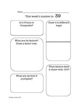 4th/5th Grade- Weekly review of factors and multiples worksheet set #2