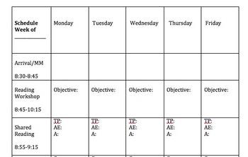 Weekly schedule editable organizer