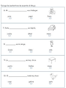 Test/exámen semanal de sustantivos