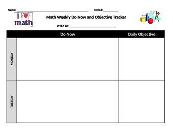 Weekly warm up student sheet