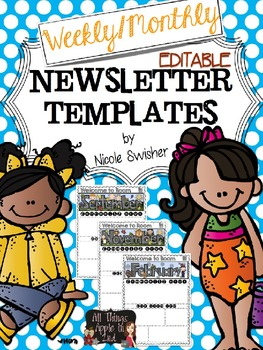 Weekly/Monthly Newsletter Templates!! EDITABLE in PPT