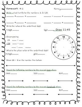 Weeks 1-4 JUMBO Math Spiral Morning Work/Homework Bundle