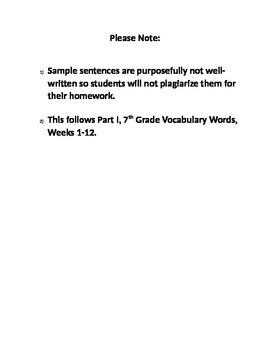 Weeks 13-25 7th Grade Vocabulary Words