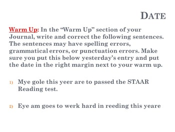 Weeks 2-16 of ELAR Warm Ups