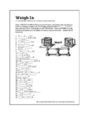 Weigh In Vocabulary Puzzle