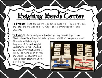 Weighing Words: Identifying Synonyms and Antonyms