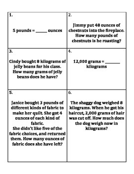 Weight Conversion Word Problems