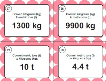 Weight Conversions Task Cards