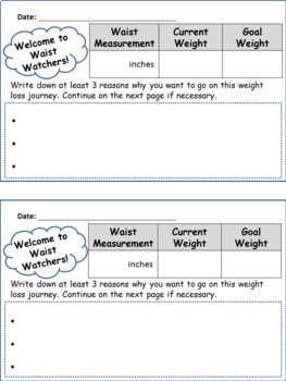 Weight Loss Tracking Booklet for School Weight Loss Groups & Teams!