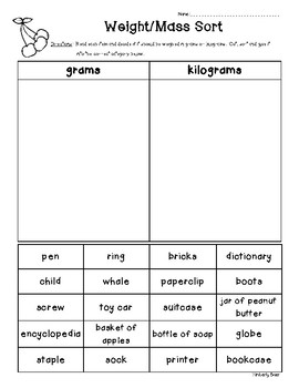 Weight / Mass Sorting Worksheet - Grams and Kilograms