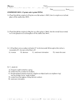 Weight, Normal Force & Inclined Forces- Quiz or Worksheet