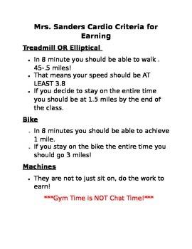 Weight Room Cardio Criteria