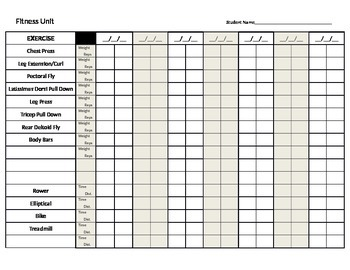 Weight Training Daily Chart