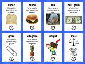 Weight Vocabulary Trading Card Activities