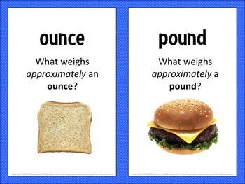 Weight Vocabulary Picture Cards