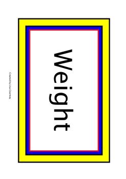 Weight - WORD WALL - bulletin board  /  vocabulary  / math