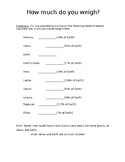 Weight Worksheet using bodies in the Solar System