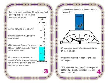 Weight and Capacity Task Cards
