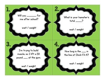 Weight and Wait Homophone Task Cards