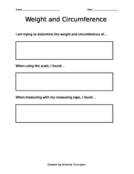 Weight and circumference worksheet