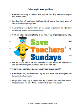 Weight word problems lesson plans, worksheets and more