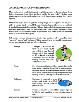 Weightlifting: An Academic Learning Packet