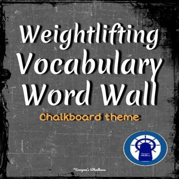 Weightlifting Vocabulary Word Wall Chalkboard Theme