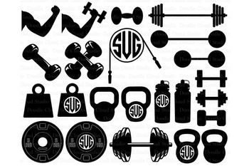 Weights SVG Files, Lifting Weights SVG Files for Silhouette Cameo and Cricut.