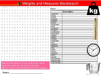 Weights and Measures Wordsearch Sheet Starter Activity Keywords Math Science